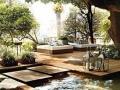Ambientes externos com piso de madeira